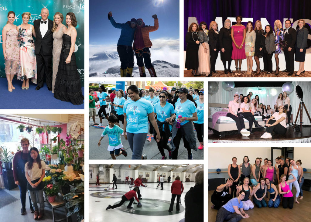 A collage of people from various fundraising events (a gala, a mountain climb, a flower shop, a curling event, a walk, a fitness studio)